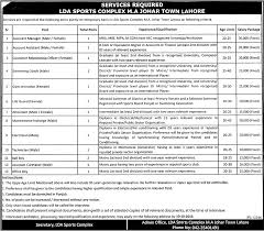 jobs in lda sports complex m a johar town lahore 18th 2015