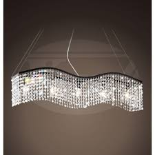 electra linear wave 5 light black and crystal chandelier 38w x 50h xtkb585bcp254x black chandelier lighting photo 5