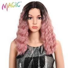 "<b>MAGIC Hair</b> 14""Inch <b>Ombre</b> Pink Wavy <b>Wigs lace front Hair</b> Synthetic ..."