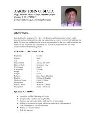example of resume for ojt hrm resume examples of resume for job application