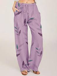 <b>Fashionable</b> cotton and linen printed lace-up casual pants ...