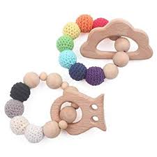 <b>Baby Wooden</b> Teether <b>Infant</b> Teething Toys Set of 2 <b>Bracelet</b> BPA ...