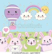 <b>Kawaii cartoon</b> concept. <b>Kawaii</b> rabbits friendly mouse in <b>hot air</b> ...