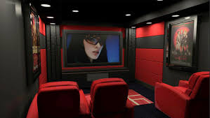themed family rooms interior home theater:  home theater asid interior design red media room brilliant basement design to home theater with wooden