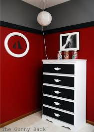 red wall paint black bed: son wants black and red bedroom thinking of doing grey on bottom black in