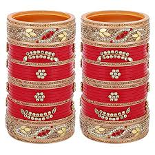 Lucky Jewellery Red Designer Chura Bridal Wedding Punjabi ...