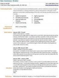 waiter cv example waiter resume examples