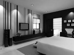 alluring black and white painting for contemporary bedroom with floating wall storage and mount tv black white bedroom design suggestions interior