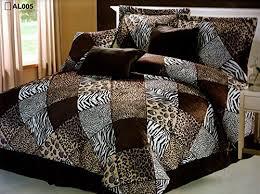 7 Pieces Multi <b>Animal</b> print Comforter set KING size Bedding Brown ...