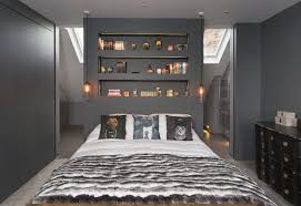 wall alcove decorating ideas bedroom contemporary with dark colors built in shelves master bedroom alcove lighting ideas