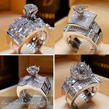 2019 <b>Boho Female Crystal Zircon</b> Wedding Ring Set Fashion 925 ...