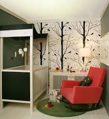 green black mesmerizing: mesmerizing wall decor ideas wooden black white baby box red modern wooden leg rocking chair green rounded rug bird tree