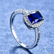 <b>Cute Female Blue</b> Sapphire Stone Ring 100% Real 925 Sterling ...