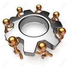 partnership team process business workers turning gear make hard partnership team process business workers turning gear make hard job together teamwork cooperation relationship efficiency