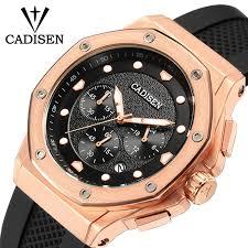<b>CADISEN Mens</b> Watch Sport Chronograph Silicone Strap <b>Quartz</b> ...