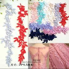 6 Pieces/3 Pairs 29*6.5cm <b>Quality</b> Flower Pink Blue Gray Venise ...