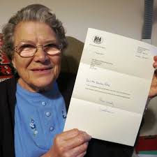 Barbara Dearden-Potter with a letter of congratulations on her New Year Honour from the Lord Lieutenant of Devon. Photo by Chris Carson. - 3326480762