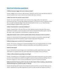 electrical interview questions answers