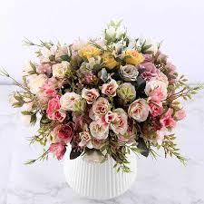 9 head bouquet mini fake tea rose peony flowers for home wedding decor artificial penoy flower bouquet bud room