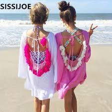 Women Summer Dresses <b>2019</b> Sexy Backless <b>Tassels Beach Cover</b> ...
