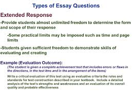 edu session writing supply items short answer and essay types of essay questions extended response provide students almost unlimited dom to determine the form