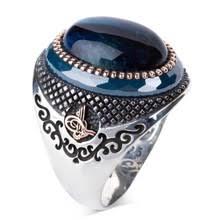 Мужское <b>серебряное кольцо с синим</b> камнем TigerEye, 925 ...