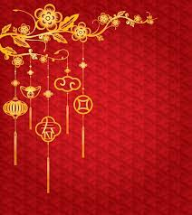 Chinese <b>New Year Background</b> with golden decoration vector art ...