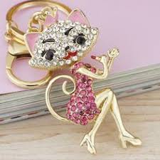 Grace Crown <b>Lipstick</b> Cat Lady <b>Crystal</b> HandBag <b>Pendant</b> Keyring ...