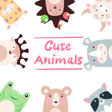 Set animals - <b>giraffe</b>, hedgehog, cow, bull, rhino, <b>raccoon</b>, <b>bear</b>, frog ...