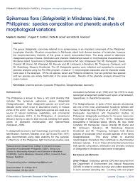 (PDF) Spikemoss flora (Selaginella) in Mindanao Island, the ...