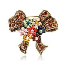 Buy Women's <b>Bow Brooch Fashion Retro</b> Bow Rhinestone Decor ...
