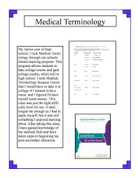 medical terminology sarah volhard s career portfolio medical terminology