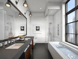 dwell bathroom ideas remarkable modern bathroom  magnificent modern bathroom design with glass enclosure shower beside rectangle bath tub also black wooden vanity unit incorporates twin basin and base drawers storage featuring long framed mirrors un