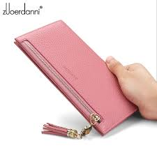 <b>100</b>% <b>Genuine Leather Women</b> Purse Zipper Pocket Coin ID Card ...