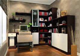 l shaped espresso solid wood narrow bookcase with white plywood and tempered glass door panel with brown solid wood shape home