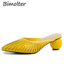 <b>Bimolter</b> Hollow Women Mules Yellow Elegant Party Pointed Toe ...