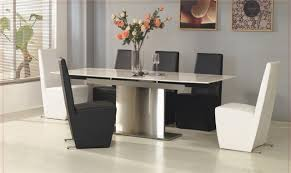 chair dining tables room contemporary: dining roomminimalist glass rectangle modern dining room sets design inspiration with white modern plain