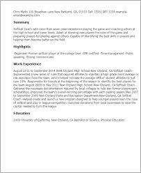 professional softball coach templates to showcase your talent    resume templates  softball coach