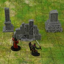 Ruined Short <b>Stone Wall</b> with Gate Set 4 Minis Dungeons and ...