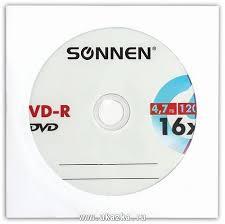 <b>Диск DVD</b>-<b>R Sonnen</b> 4,7 Gb, 16х бумажный конверт (1 штука ...