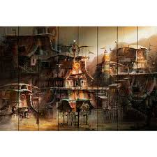 Картина на дереве Деревня Стимпанк 80х120 — купить по цене ...