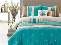 sky blue bedroom light comforter sets blue coast  piece embroidered comforter set blue amp brown queen