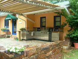 set cabinet full mini summer: enthralling  captivating modern outdoor kitchen summer design offer l shaped cooking station with stainless steel storage base and counter also wooden planks roof as well as stacked stone border ideas outdoor summ