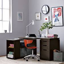 chic swivel chair and curved table lamp completing best l shaped computer desk designed in minimalist style on beige rug chic shaped home office