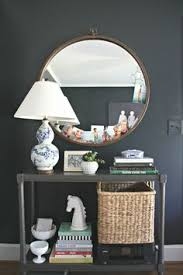 home office family photos blue white lamp round mirror console beautiful home office makeover sita