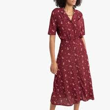 <b>Платье</b>-<b>рубашка</b> длинное с рисунком рисунок/фон бордовый <b>La</b> ...