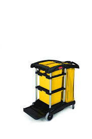 rubbermaid commercial products housekeeping cart with 2 caddies black black newell office depot