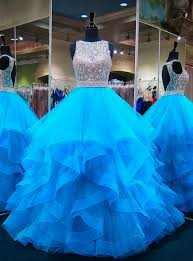 Blue <b>Puffy</b> Ball Gown Crystals Backless African <b>Prom</b> Dresses ...