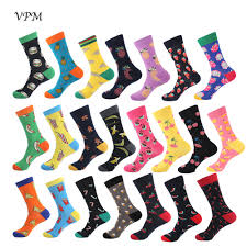 VPM Colorful Cotton <b>Men Socks Funny</b> Food Pineapple Pizza ...