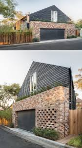 this australian home has a garage that is surrounded by recycled brick bespoke brickwork garage office